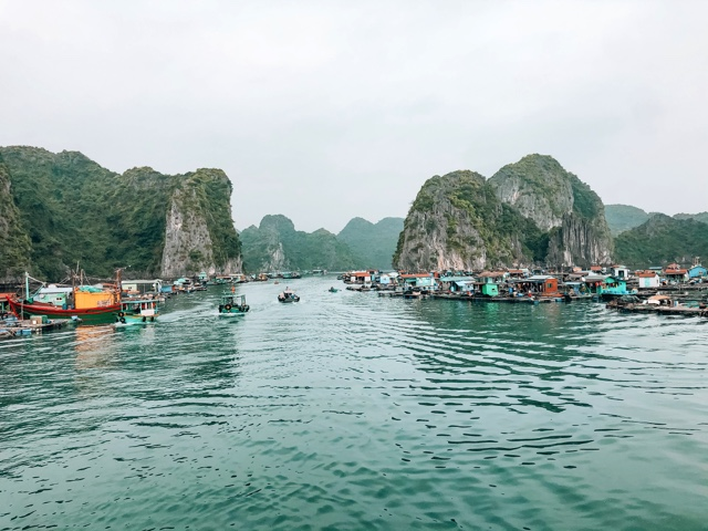 View of the fishing village in Cat Ba Island in Vietnam
