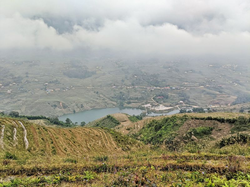 View of the Sapa landscapes with a lake from Ta Van village to Giang Ta Chai and Supa village.