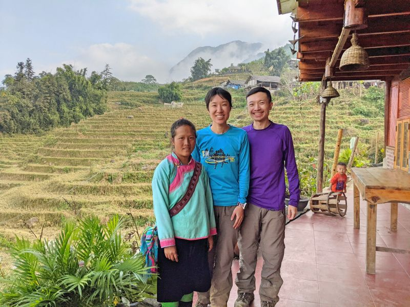 Jackie Szeto and Justin Huynh, Life Of Doing, with Zal from Zaazaa Trekking in front of the rice fields