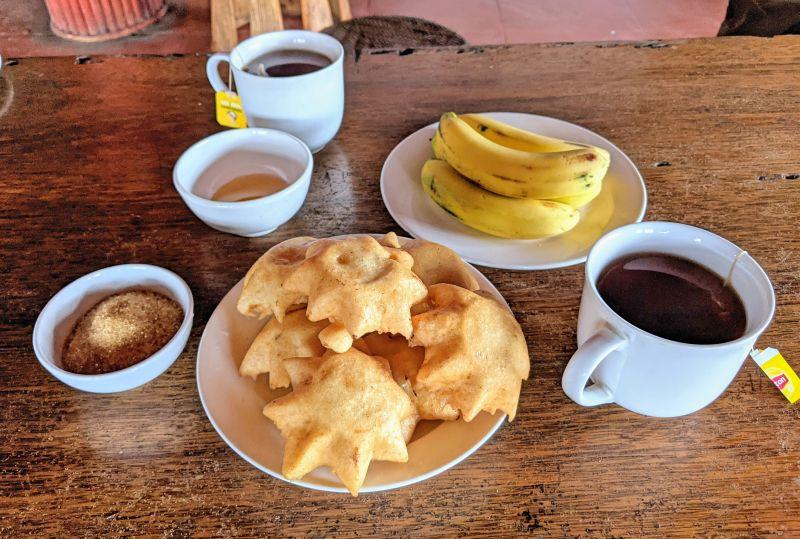 Breakfast at Indigo Snail Homestay in Sapa, Vietnam consisted of star shaped banana cakes with bananas and hot tea