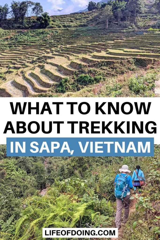 Sapa Trekking Guide - Top photo is of Sapa rice terraces and bottom photo is of two women trekking in the mountains of Sapa, Vietnam