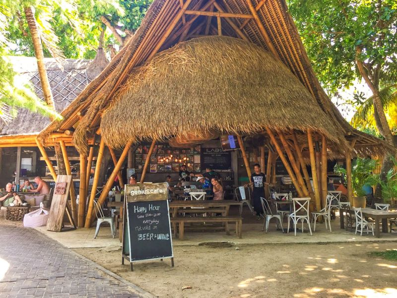 Open seating area of a cafe at Genius Cafe in Sanur, Bali