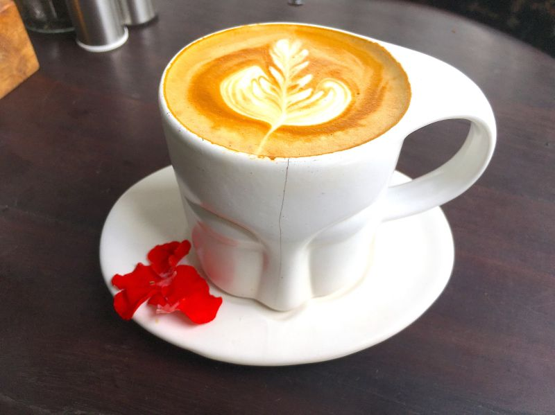 A mug of coffee with a leaf latte artwork at Mudra Cafe in Bali