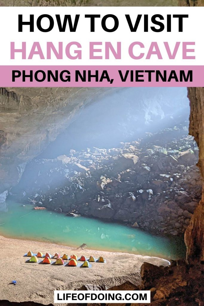 A light beams into the Hang En Cave's camping grounds in Phong Nha, Vietnam
