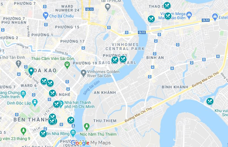 Map of the Ho Chi Minh City dessert locations