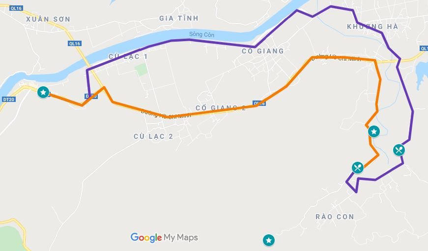 Map of the routes to get to Bong Lai Valley from Phong Nha Town