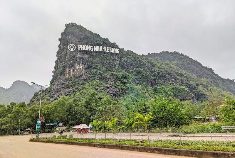 Phong Nha Ke Bang National Park sign on the limestone mountain