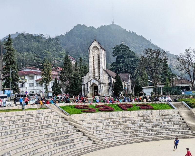 View of the brick building Notre Dame Cathedral in Sapa, Vietnam