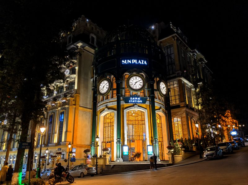 Evening lights at the yellow building Sun Plaza in Sapa, Vietnam