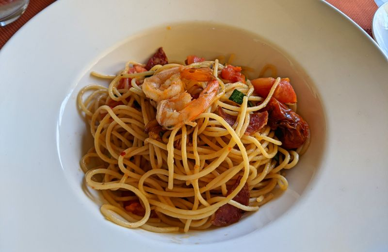 Spaghetti with shrimp and salami at The Villas Restaurant in Phong Nha, Vietnam