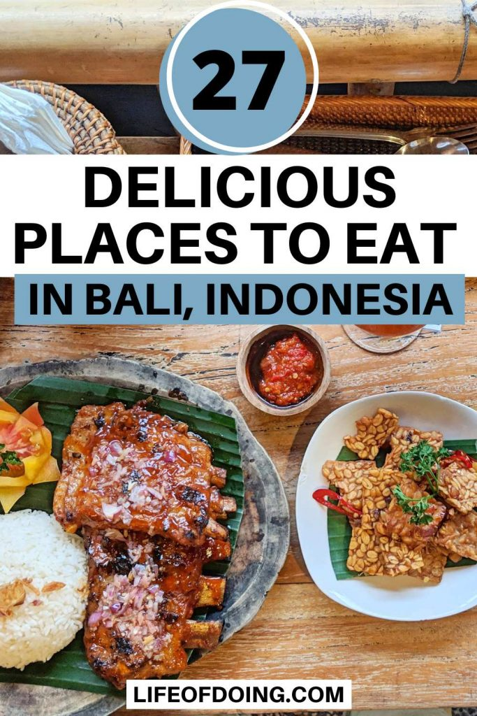 Bali has plenty of places to eat delicious foods such as a plate of BBQ ribs with rice and fried tempeh