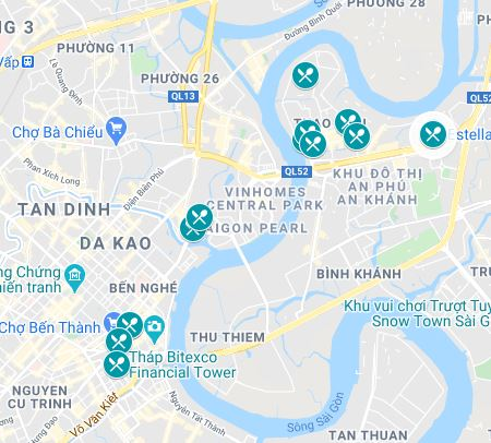 Map of the burger spots in Ho Chi Minh City, Vietnam