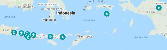 Map of the best hiking trails in Indonesia