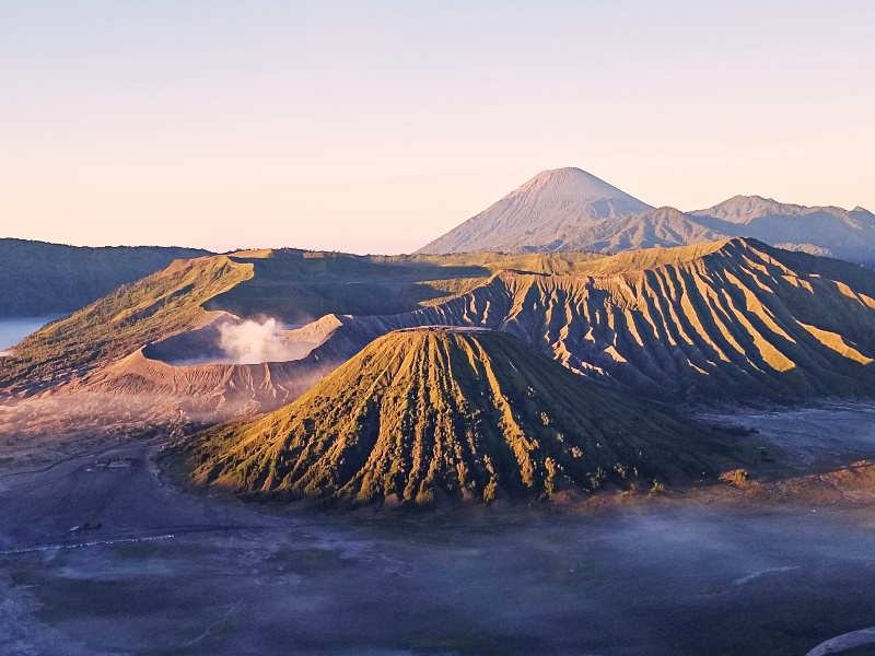 Volcanic craters of Mount Bromo at sunrise