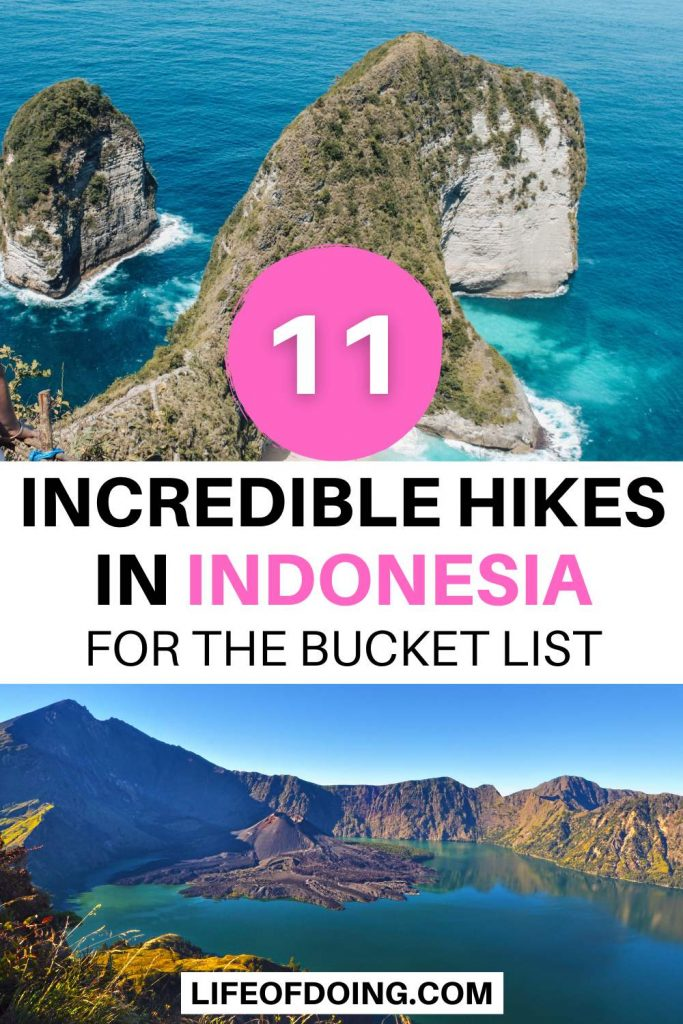 Photos of the best hikes in Indonesia - top is of Kelingking Beach in Nusa Penida with the dinosaur looking cliffside and the bottom is Rinjani of volcanic lake crater