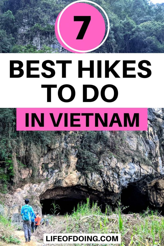 Group of hikers walk towards the Hang En Cave entrance in Phong Nha, which is one of the best hikes to do in Vietnam