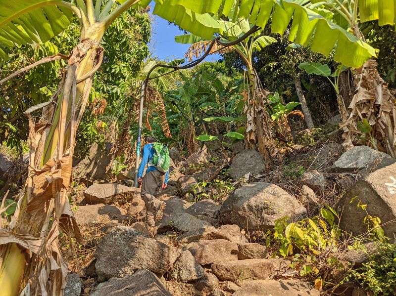 Justin Huynh, Life Of Doing, walk up the rocky Ba Den hiking trail with banana trees surrounding the area.