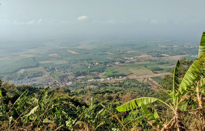 Panoramic view of Tay Ninh Province and the forest areas from one of the overlook spots along the Ba Den Mountain hike in Tay Ninh, Vietnam