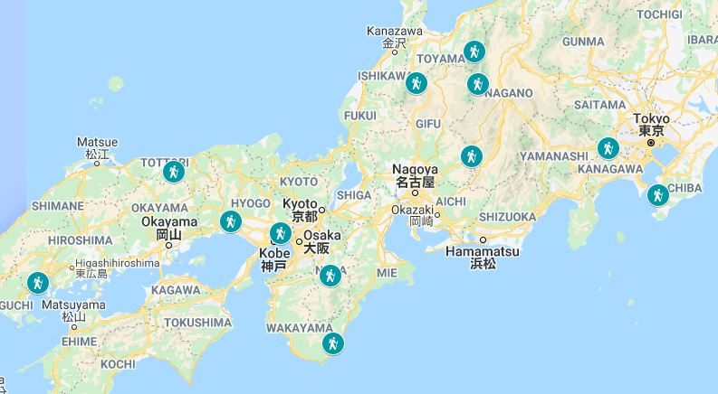 Map of the Japan hiking trails