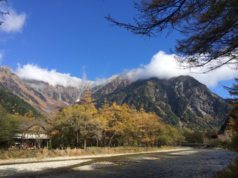 One of the snow-capped mountains in Kamikochi National Park, Japan