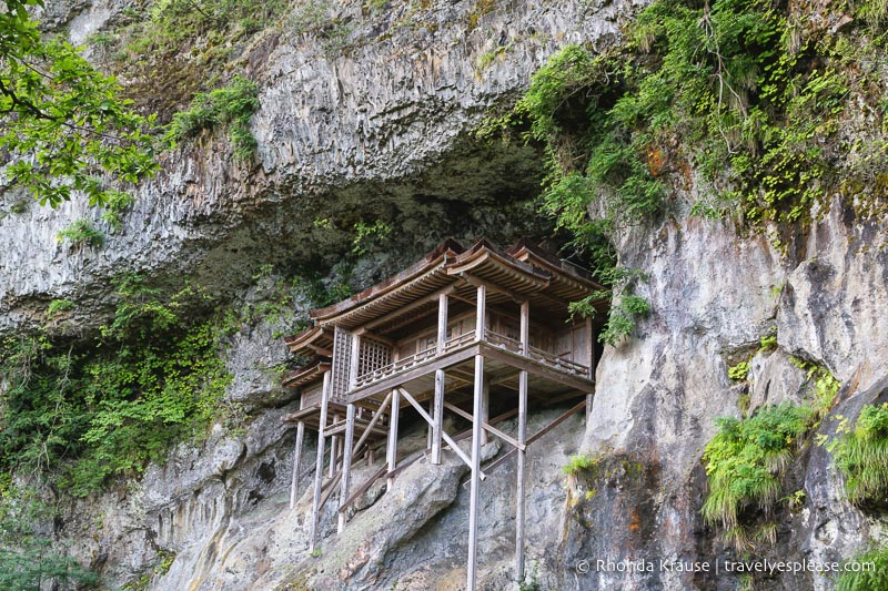 A wooden temple built on the edge of the Mount Mitoku mountain in Japan