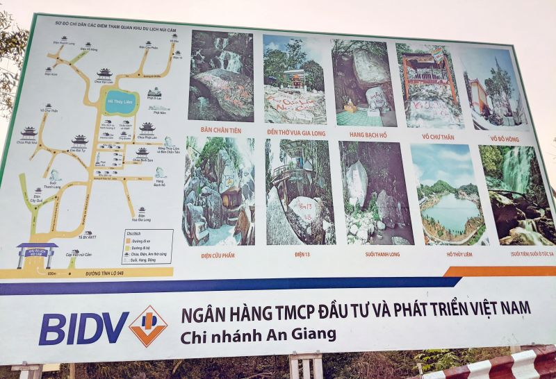 Map of Cam Mountain (Forbidden Mountain)'s local attractions in An Giang, Vietnam