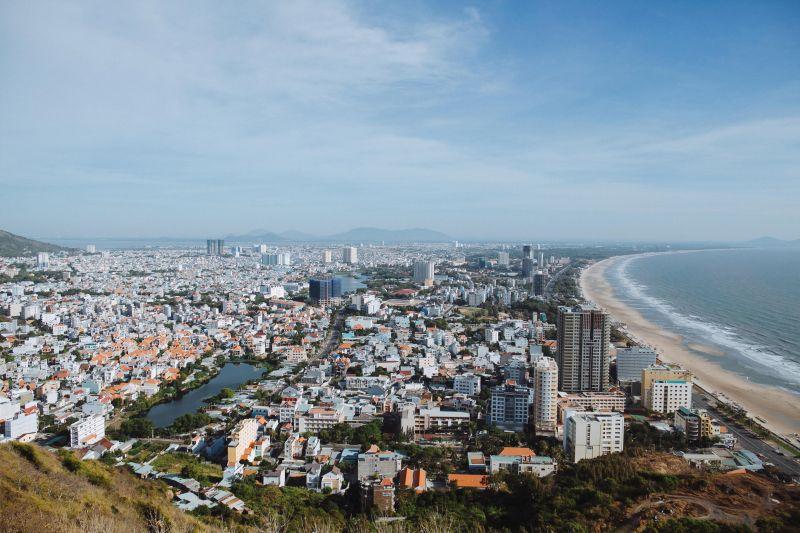 Aerial view of buildings and the beach coastline of Vung Tau, Vietnam