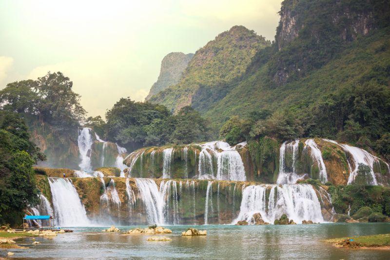 Multi-layered waterfall cascades of Ban Gioc Waterfall (also known as Ban Gioc-Detian Waterfalls) in Vietnam