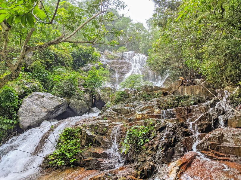 Gio Waterfall is in the middle of Phong Nha Botanic Garden's jungle area in Vietnam.