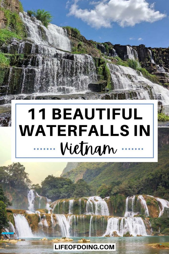 Two photos of multi-tiered waterfalls (Pongour Waterfall and Ban Gio Waterfall) in Vietnam