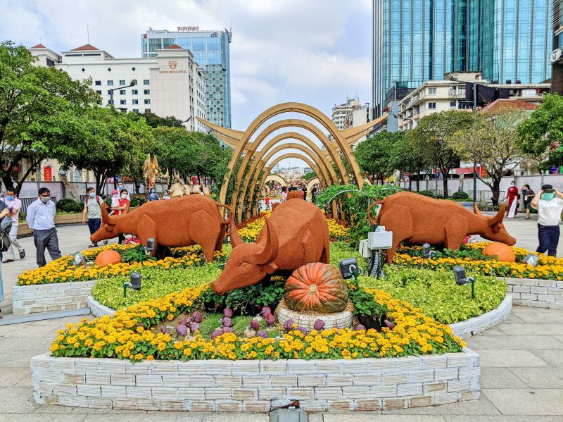 Year of the Ox flower displays for the Vietnamese Tet Lunar New Year in Ho Chi Minh City, Vietnam in 2021