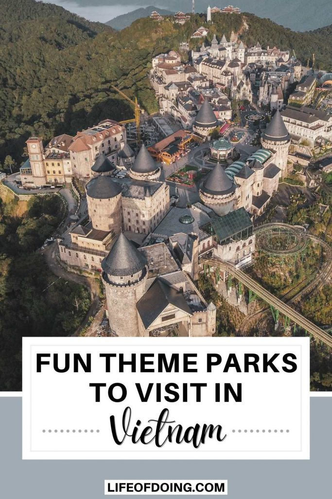 An aerial view of the castle and European buildings at Sun World Ba Na Hills, one of the theme parks in Vietnam to visit.