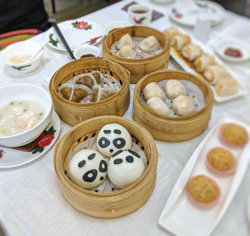 Variety of dim sum including vegetarian dim sums of Panda shaped steam buns and steamed mushroom dumplings at Dim Tu Tac, Ho Chi Minh City, Vietnam