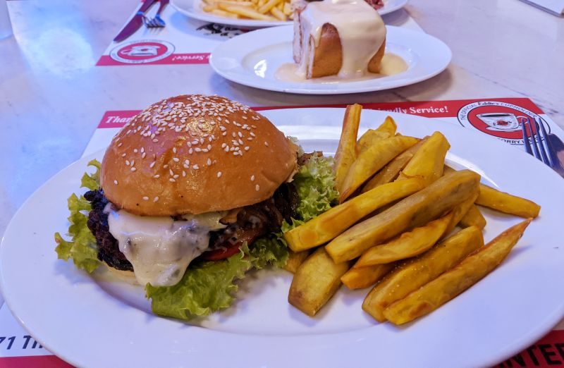 Vegetarian burger with sweet potato fries from Eddie's New York Deli (Shelley's Vegetarian Comfort Food) in Ho Chi Minh City