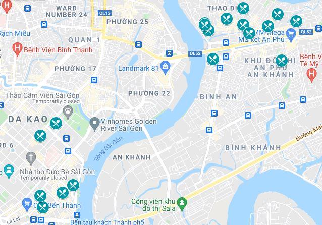 Map of the vegetarian and vegan restaurants in Ho Chi Minh City, Vietnam
