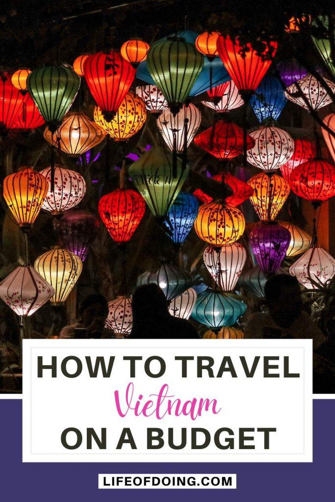 Colorful lanterns at night time in Vietnam