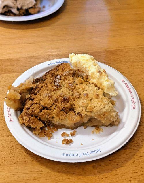 Dutch apple pie slice with a scoop of vanilla ice cream at Julian Pie Company in Julian, California