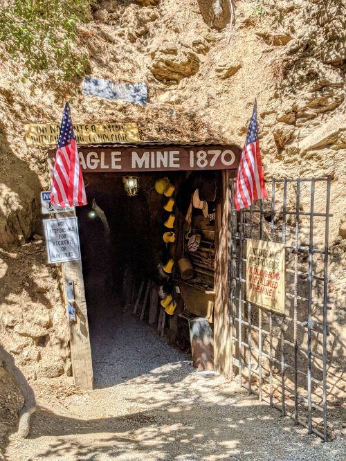 Gate entrance to the Eagle Mine 1870 at the Eagle Mining Company in Julian, California