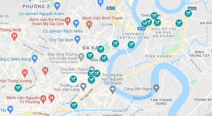 Map of the Best Pizza Locations in Ho Chi Minh City, Vietnam