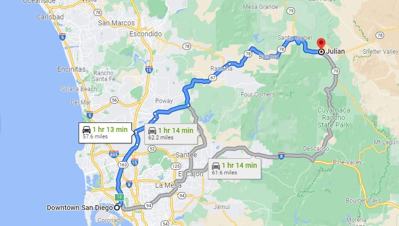 Map of driving directions from Downtown San Diego to Julian, California