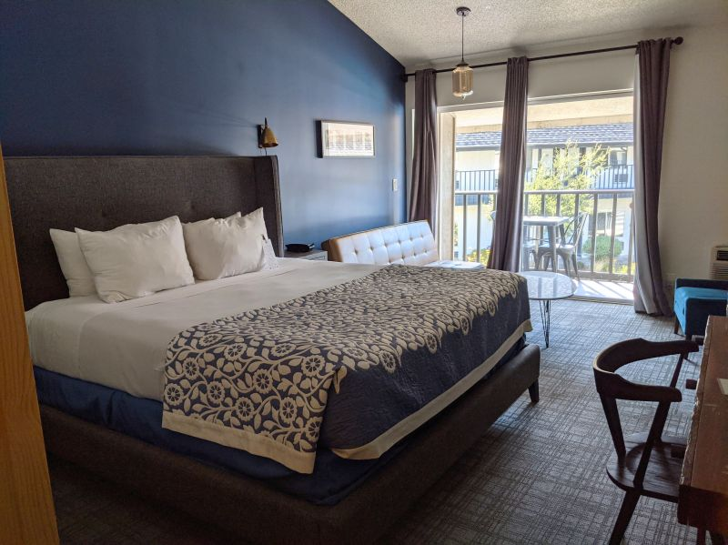 Inside the hotel room at Sideways Inn in Buellton, California