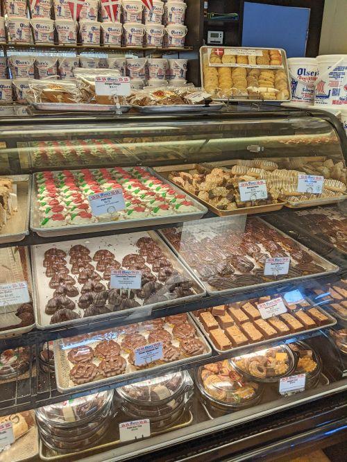 Display of the cookies sold at Olsen's Danish Village Bakery in Solvang, California