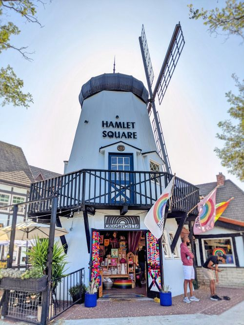 Hamlet Square with a windmill in Solvang, California